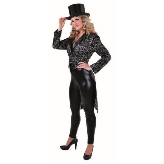Carnaval dames slipjas zwart zilver