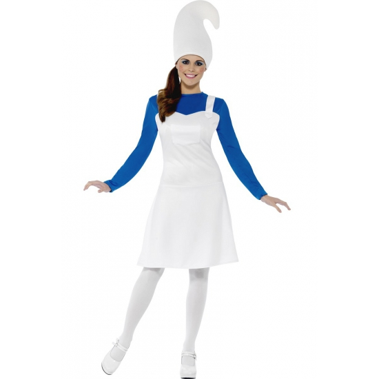 Carnavalskleding blauwe kabouter voor dames