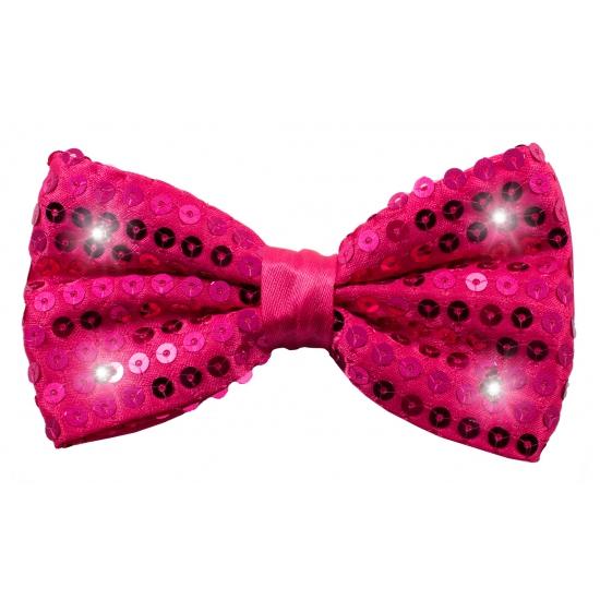 Carnavalstrikje met LED lichtjes roze