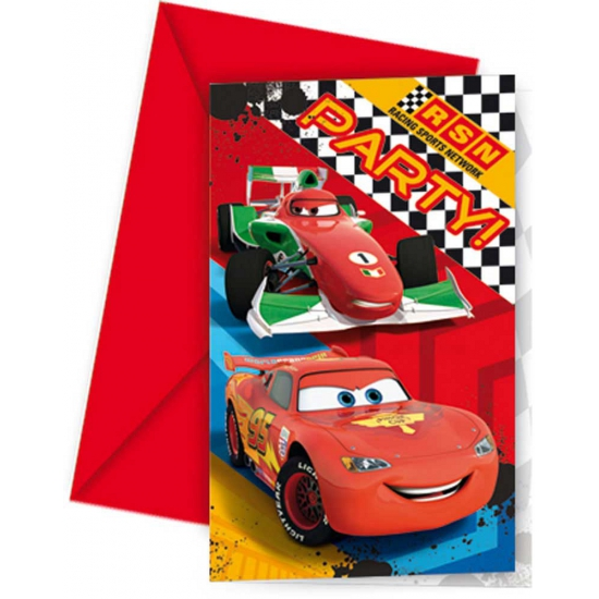 Cars thema uitnodigingen 6 stuks