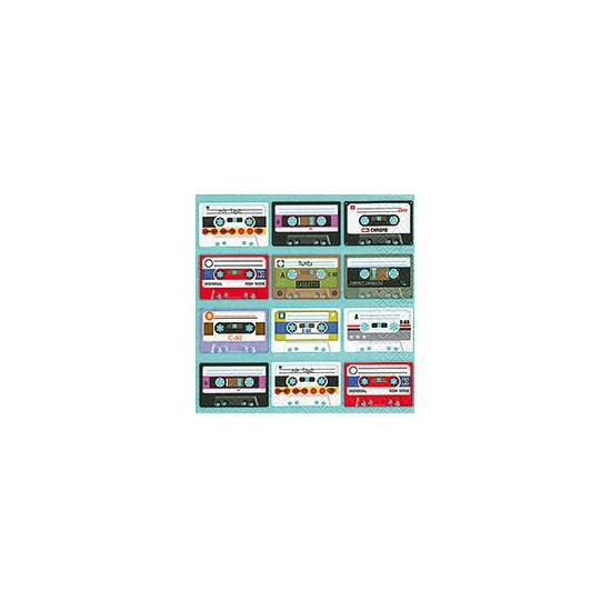 Cassettebandjes servetten 20 stuks