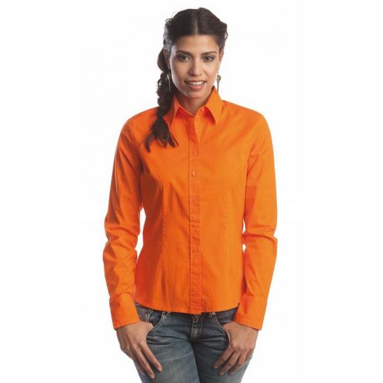 Casual oranje overhemd voor dames