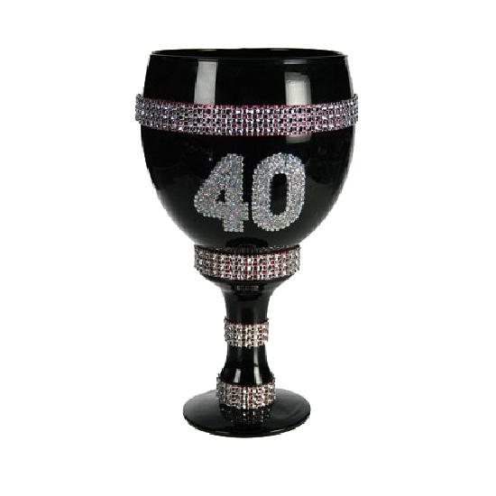 Champagne glas met glitter 40 jaar