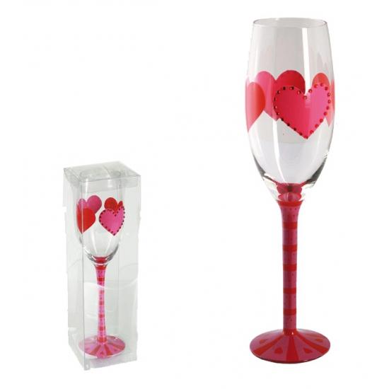 Champagne glas met hartjes