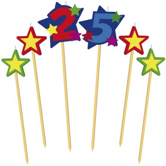 Cijfer 25 prikker kaars met sterren