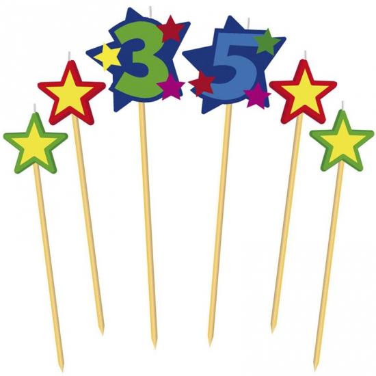 Cijfer 35 prikker kaars met sterren