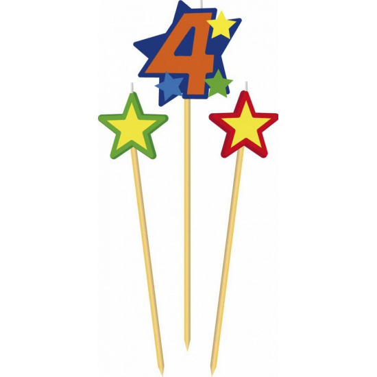 Cijfer 4 prikker kaars met sterren