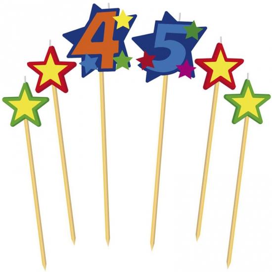 Cijfer 45 prikker kaars met sterren