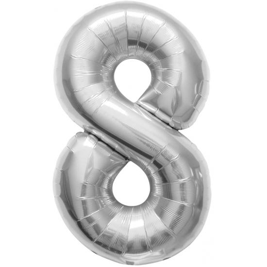 Cijfer 8 helium ballonnen zilver