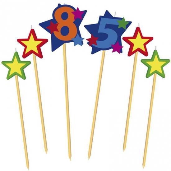Cijfer 85 prikker kaars met sterren