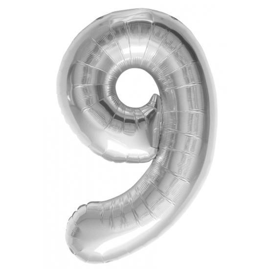 Cijfer 9 helium ballonnen zilver