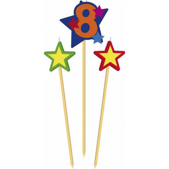 Cijfer kaarsjes op prikker 8