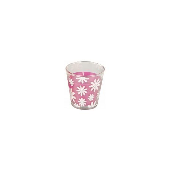 Citronella geurkaars in houder roze