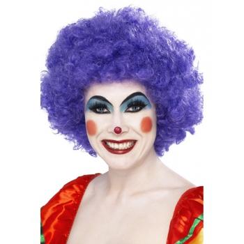 Clowns pruik met paarse krullen