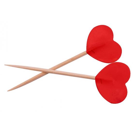 Cocktailprikkers hartjes rood 50 stuks