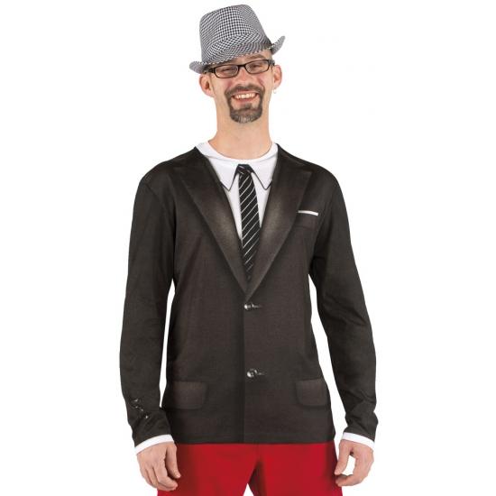 Colbert t shirt met lange mouwen