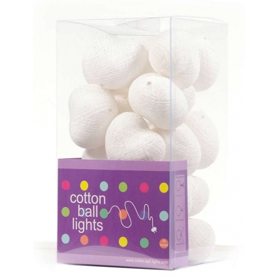 Cotton Balls lichtsnoer met witte hartjes