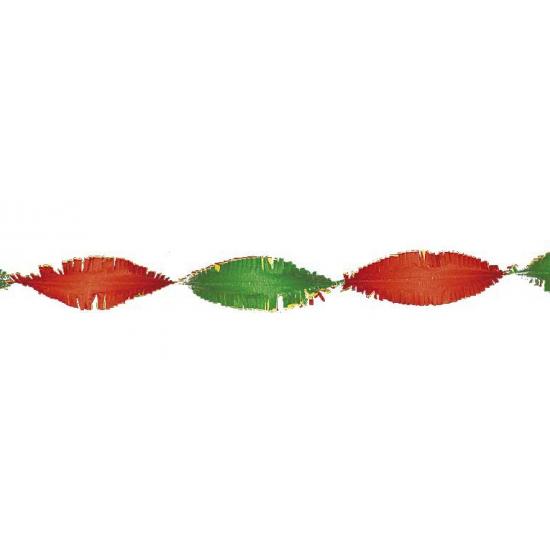 Crepe papier slinger rood / geel / groen 6 meter