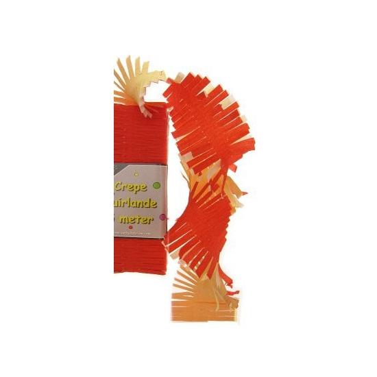 Crepe papier slinger rood geel wit 6 meter