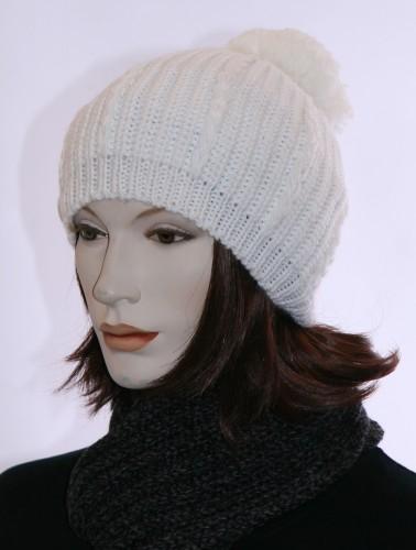 Dames muts witte baret met pompon