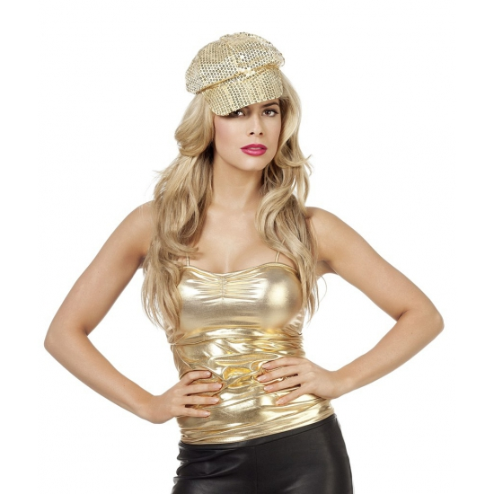 Dames verkleed top goud