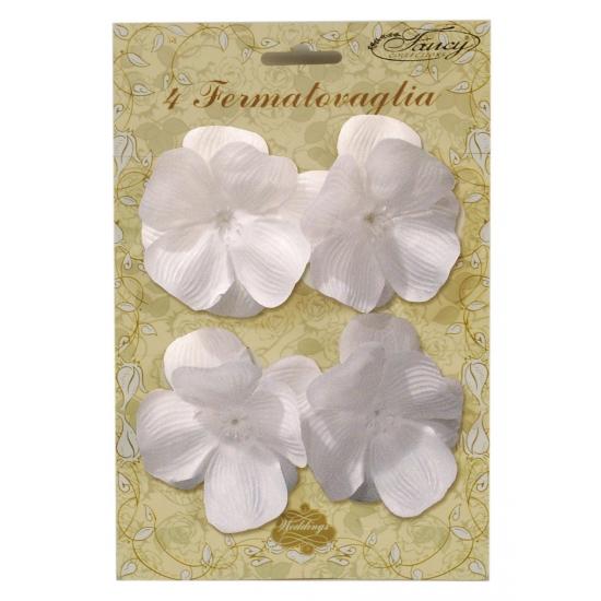 Decoratie klemmetjes met witte bloemen voor tafelkleed 4 stuks