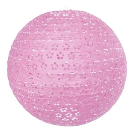 Decoratie lampion roze bloem motief 35 cm