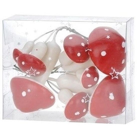 Decoratie paddenstoelen rood met wit