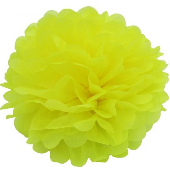 Decoratie pompom geel 35 cm
