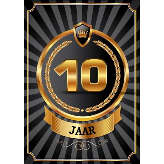 Decoratie poster 10 jaar zwart en goud