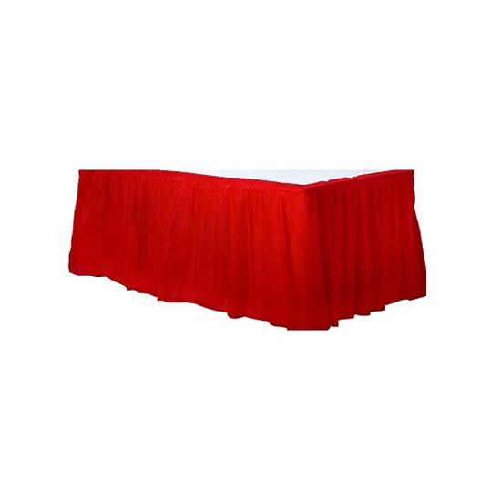 Decoratie tafekleed rand rood