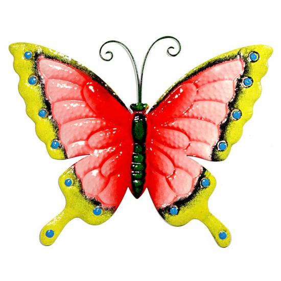 Decoratie vlinder roze/geel 30 cm