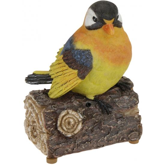 Decoratie vogeltjes met geluid oranje geel