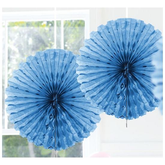 Decoratie waaiers blauw 45 cm