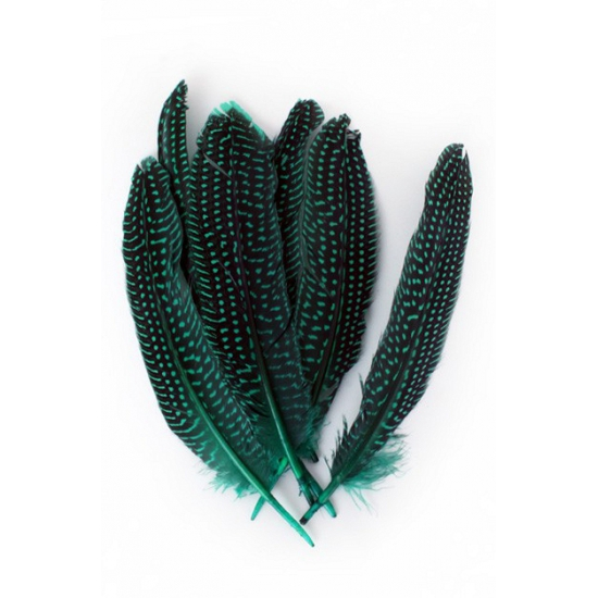 Decoratieve veren groen met stippen 50 stuks