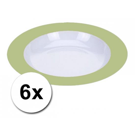 Diepe groene borden onbreekbaar 6 stuks