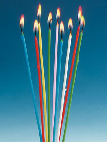 Dunne gekleurde kaarsen 20 cm