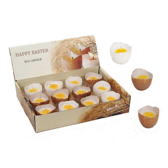 Eier kaars in schaal wit 5 cm