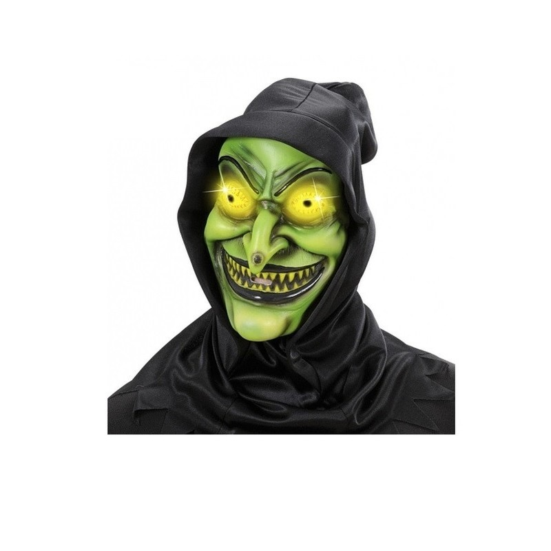 Eng heksen masker met zwarte kap