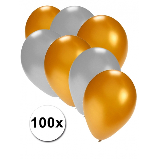 Feest ballonnen goud en zilver 100x
