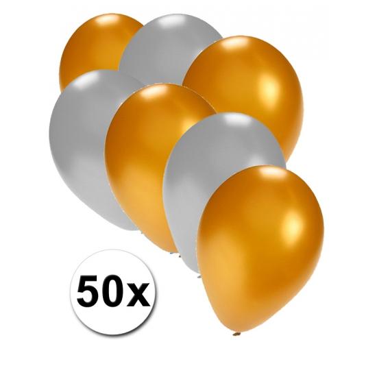 Feest ballonnen goud en zilver 50x