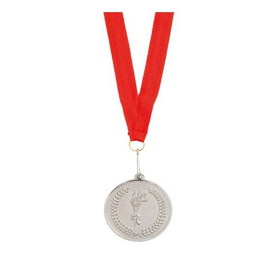 Feest medaille zilver gekleurd met lint