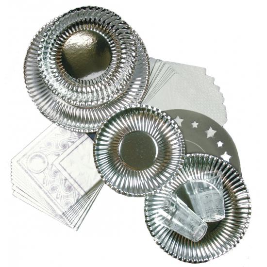 Feest placemats karton metallic zilver 10 stuks