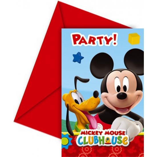 Feestartikelen Mickey Mouse uitnodigingen 6 stuks