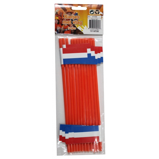 Feestartikelen oranje rietjes met Nederlanse vlag 12 stuks