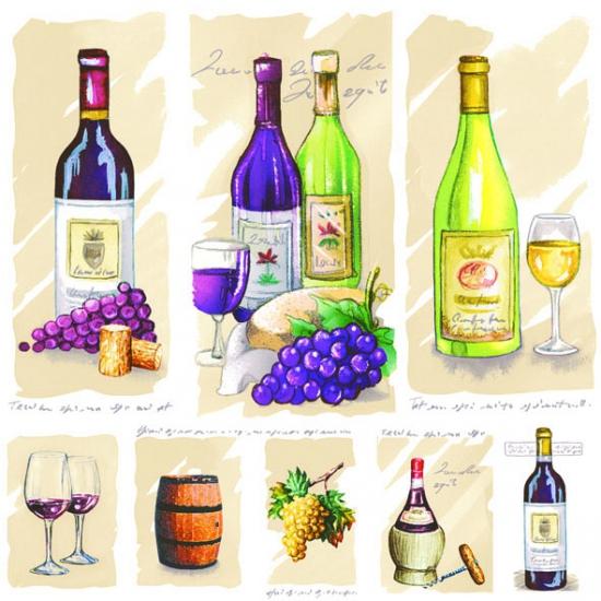Feestartikelen servetten thema wijn 20 stuks
