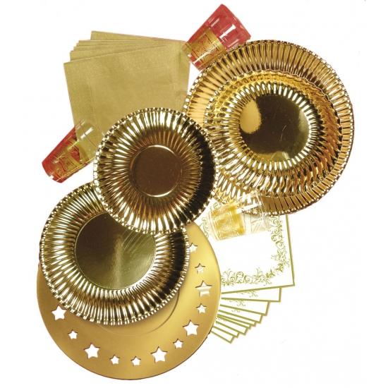 Feestbordjes metallic goud 10 stuks