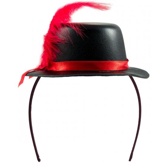 Feesthoedje zwart met rood