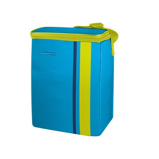 Fel blauw met groene koeltassen