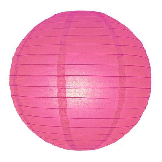 Fel roze lampionnen 25 cm